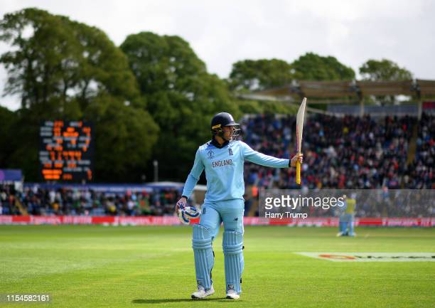 Jason Roy of England walks off after being dismissed for 153 during the Group Stage match of the ICC Cricket World Cup 2019 between England and...