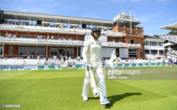 Jason Roy of England walks out to bat ahead of day one of the Specsavers Test Match between England and Ireland at Lord's Cricket Ground on July 24...