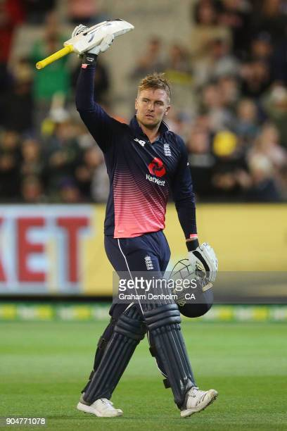 Jason Roy of England waves to the crowd after being dismissed during game one of the One Day International Series between Australia and England at...