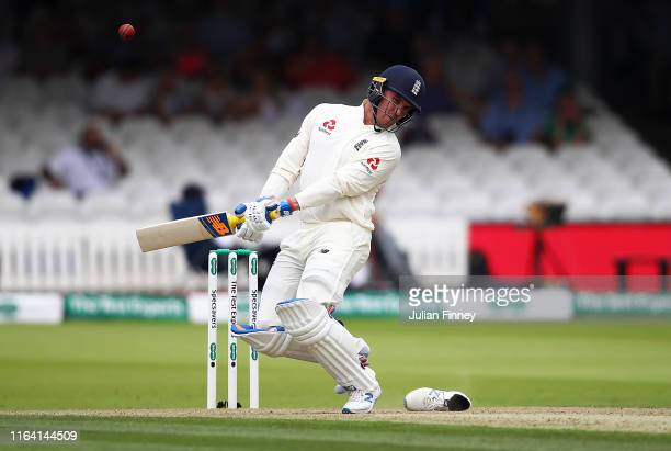 Jason Roy of England's shoe comes off whilst avoiding a bowl during day two of the Specsavers Test Match between England and Ireland at Lord's...