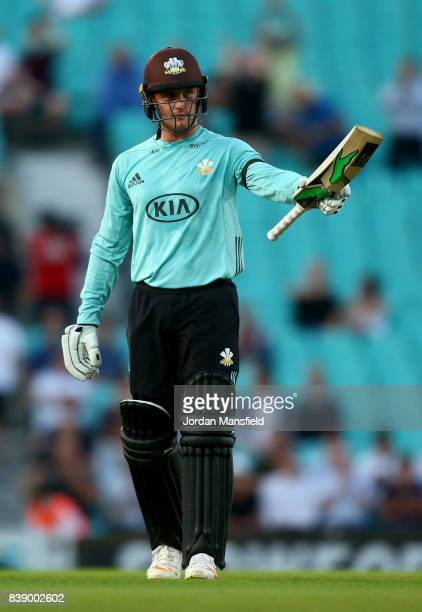 Jason Roy of Surey celebrates his 50 during the NatWest T20 Blast QuarterFinal between Surrey and Birmingham Bears at The Kia Oval on August 25 2017...