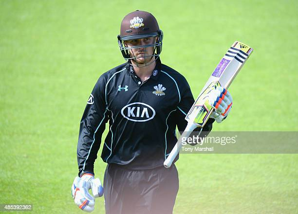 Jason Roy of Surrey acknowledges the applause after being dismissed for112 during the Royal London OneDay Cup Quarter Final match between Surrey and...
