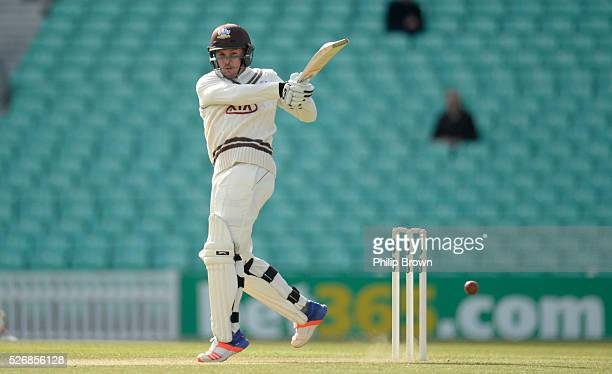 Jason Roy of Surrey bats during day one of the Specsavers County Championship Division One match between Surrey and Durham at the Kia Oval on May 1...