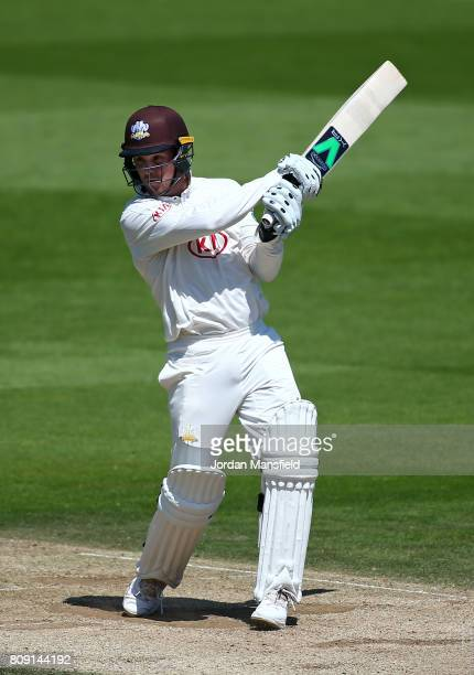 Jason Roy of Surrey bats during day three of the Specsavers County Championship Division One match between Surrey and Hampshire at The Kia Oval on...