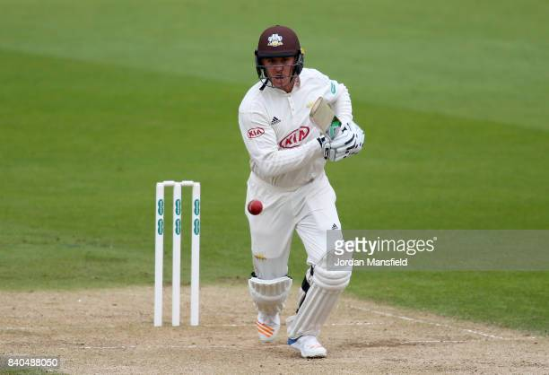 Jason Roy of Surrey bats during day two of the Specsavers County Championship Division One match between Surrey and Middlesex at The Kia Oval on...