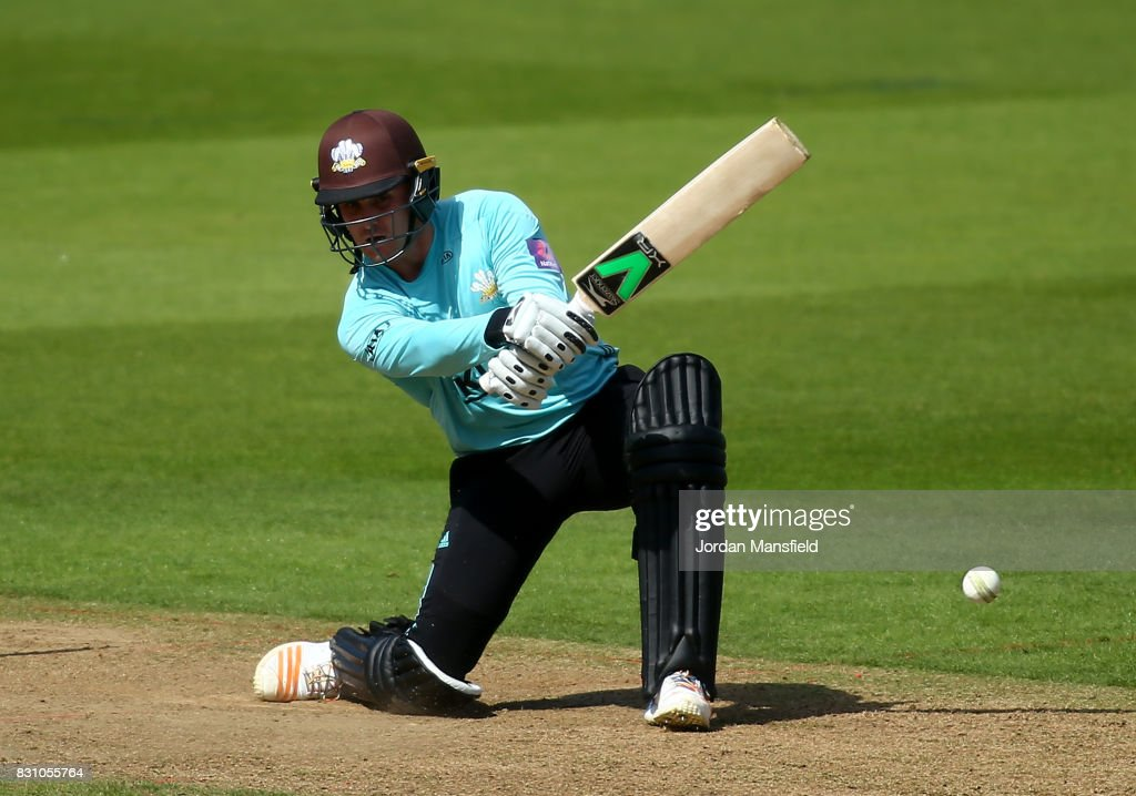 Jason Roy of Surrey bats during the NatWest T20 Blast match between Surrey and Sussex Shark at The Kia Oval on August 13, 2017 in London, England.