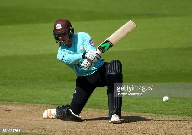 Jason Roy of Surrey bats during the NatWest T20 Blast match between Surrey and Sussex Shark at The Kia Oval on August 13 2017 in London England
