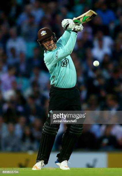 Jason Roy of Surrey bats during the NatWest T20 Blast match between Surrey and Gloucestershire at The Kia Oval on August 17 2017 in London England