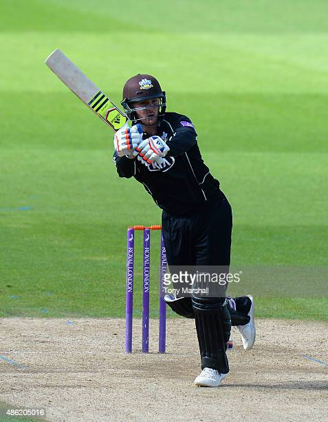 Jason Roy of Surrey bats during the Royal London OneDay Cup Quarter Final match between Surrey and Kent at The Kia Oval on August 27 2015 in London...