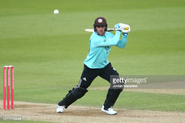 Jason Roy of Surrey bats during the T20 Vitality Blast Quarter Final match between Surrey and Kent at The Kia Oval on October 01 2020 in London...