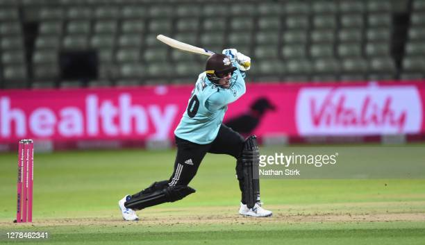 Jason Roy of Surrey bats during the Vitality Blast 2020 final match between Surrey and Notts Outlaws at Edgbaston on October 04 2020 in Birmingham...