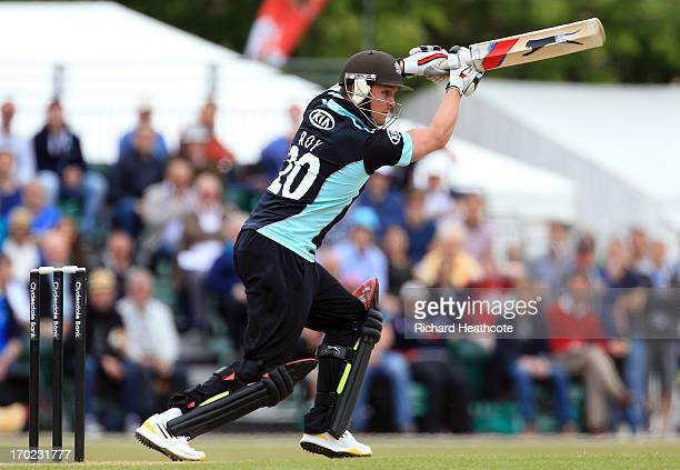 Jason Roy of Surrey bats during the Yorkshire Bank 40 match between Surrey and Lancashire at Guildford Cricket Club on June 9 2013 in Guildford...