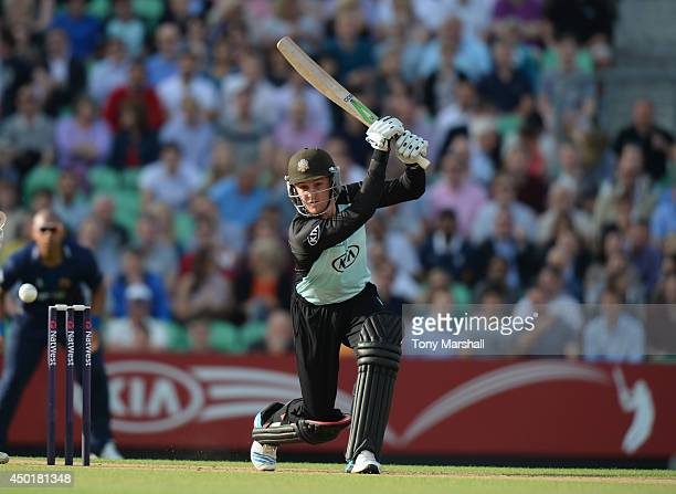 Jason Roy of Surrey batting during the NatWest T20 Blast match between Surrey and Essex Eagles at The Kia Oval on June 6 2014 in London England
