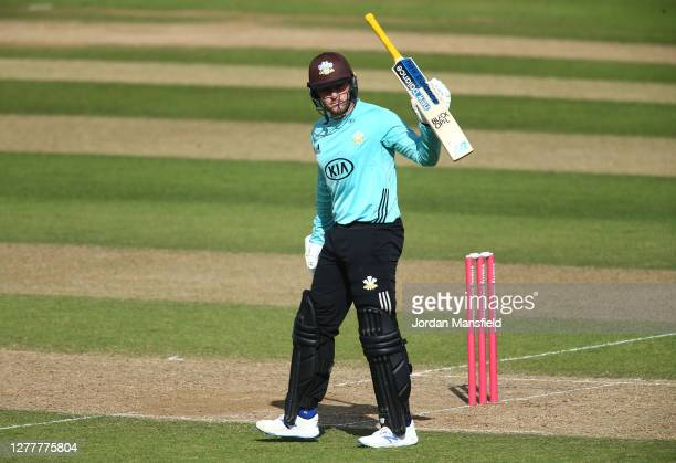 Jason Roy of Surrey celebrates his 50 during the T20 Vitality Blast Quarter Final match between Surrey and Kent at The Kia Oval on October 01 2020 in...
