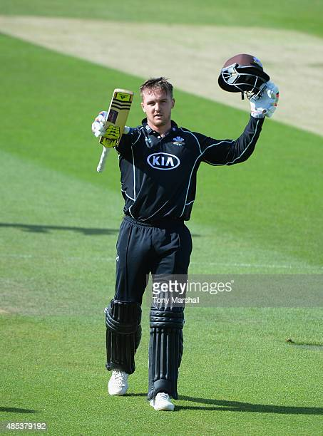 Jason Roy of Surrey celebrates reaching his 100 during the Royal London OneDay Cup Quarter Final match between Surrey and Kent at The Kia Oval on...