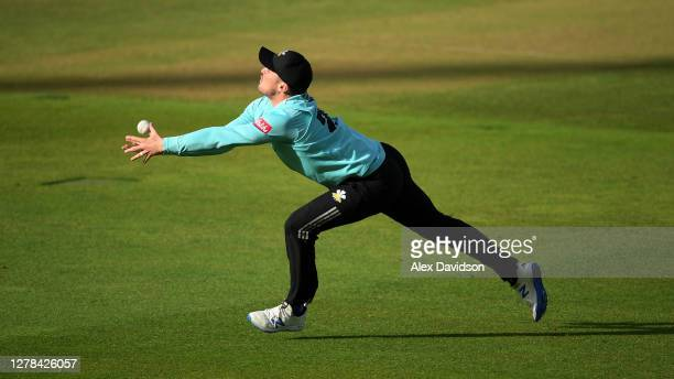 Jason Roy of Surrey drops James Bracey of Gloucestershire during the Vitality Blast 2020 Semi Final match between Surrey and Gloucestershire at...