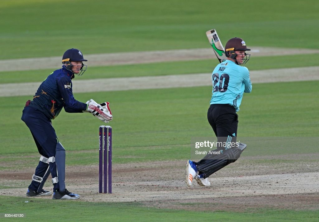 Jason Roy of Surrey hits out as Kent Spitfires wicket keeper Sam Billings looks on during the NatWest T20 Blast South Group match between Kent Spitfires and Surrey at The Spitfire Ground on August 18, 2017 in Canterbury, England. (Photo by Sarah Ansell/Getty Images).