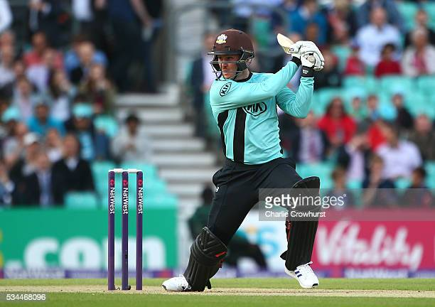 Jason Roy of Surrey hits out during the Natwest T20 Blast match between Surrey and Glamorgan at The Kia Oval on May 26 2016 in London England