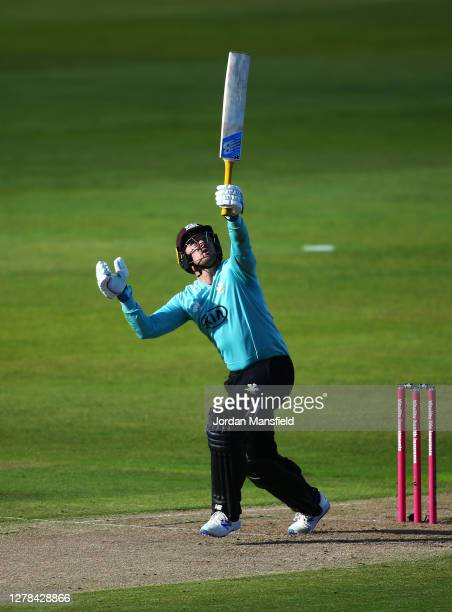Jason Roy of Surrey hits out during the T20 Vitality Blast Semi Final between Surrey and Gloucestershire at Edgbaston on October 04 2020 in...