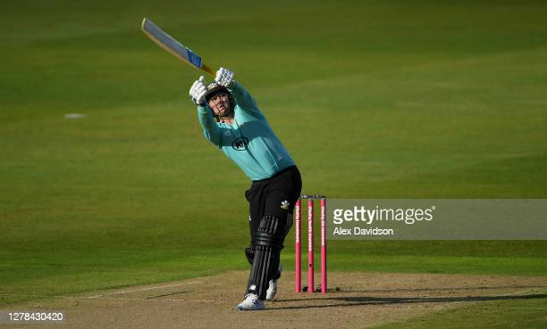 Jason Roy of Surrey hits out during the Vitality Blast 2020 Semi Final match between Surrey and Gloucestershire at Edgbaston on October 04 2020 in...
