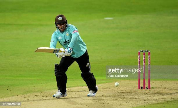 Jason Roy of Surrey hits runs during the Vitality Blast 20 Final between Surrey and Notts Outlaws at Edgbaston on October 04 2020 in Birmingham...