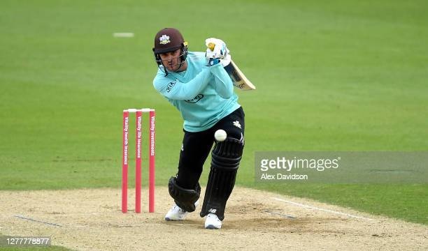 Jason Roy of Surrey hits runs during the Vitality Blast QuarterFinal match between Surrey and Kent Spitfires at The Kia Oval on October 01 2020 in...