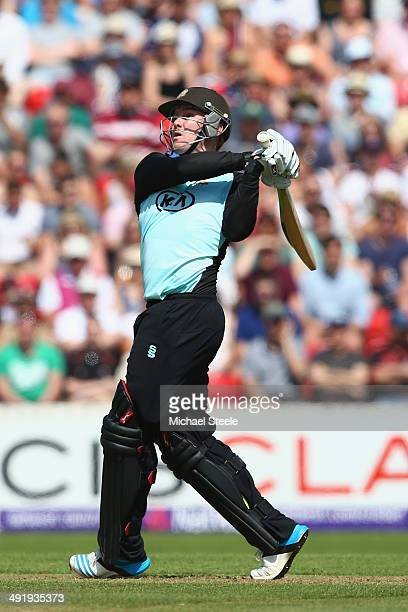 Jason Roy of Surrey hits to the legside boundary during the NatWest T20 Blast match between Somerset and Surrey at The County Ground on May 18 2014...