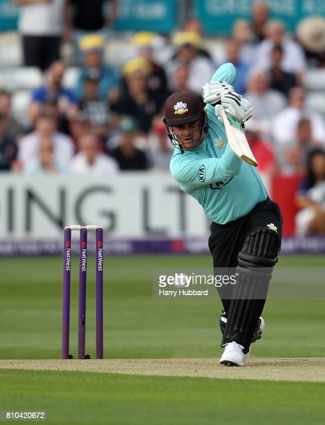 Jason Roy of Surrey in action during the Natwest T20 Blast match between Essex and Surrey at Cloudfm County Ground on July 7 2017 in Chelmsford...