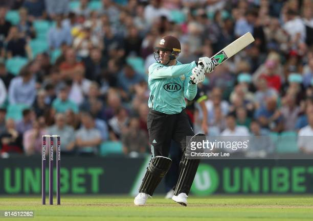 Jason Roy of Surrey in action during the NatWest T20 Blast match between Surrey and Kent at The Kia Oval on July 14 2017 in London England