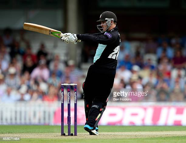 Jason Roy of Surrey in action during the Natwest T20 Blast Quarter Final match between Surrey and Worcestershire Rapids at The Kia Oval on August 2...