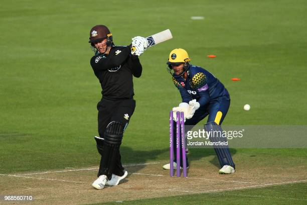 Jason Roy of Surrey is bowled out by Andrew Salter of Glamorgan during the Royal London OneDay Cup game between Surrey and Glamorgan at The Kia Oval...