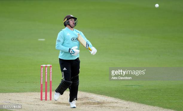 Jason Roy of Surrey plays out a bouncer during the Vitality Blast QuarterFinal match between Surrey and Kent Spitfires at The Kia Oval on October 01...