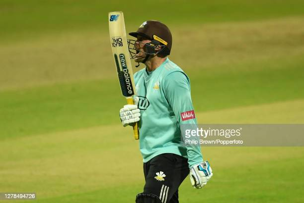 Jason Roy of Surrey reacts after being dismissed during the Vitality T20 Blast Final between Surrey and Notts Outlaws at Edgbaston on October 04 2020...