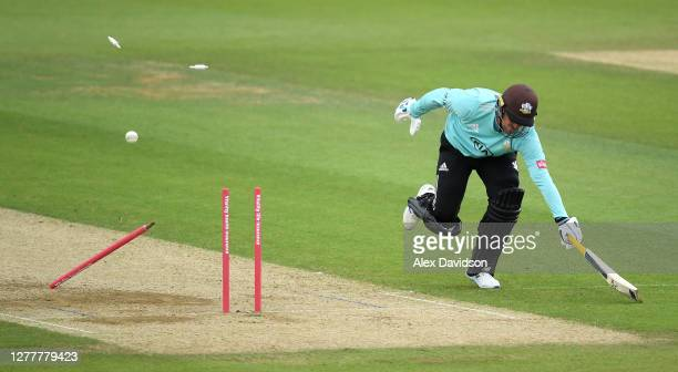 Jason Roy of Surrey survives a run out chance during the Vitality Blast QuarterFinal match between Surrey and Kent Spitfires at The Kia Oval on...