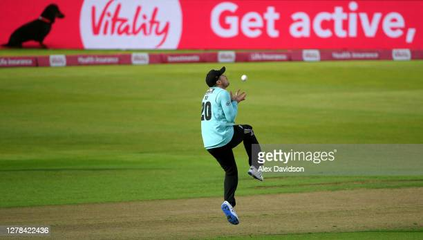 Jason Roy of Surrey takes the catch to dismiss Chris Dent of Gloucestershire during the Vitality Blast 2020 Semi Final match between Surrey and...