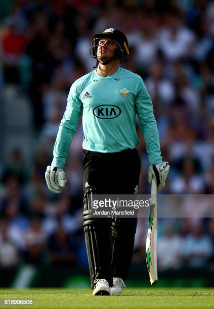 Jason Roy of Surrey walks off after being dismissed during the NatWest T20 Blast match between Surrey and Essex Eagles at The Kia Oval on July 19...