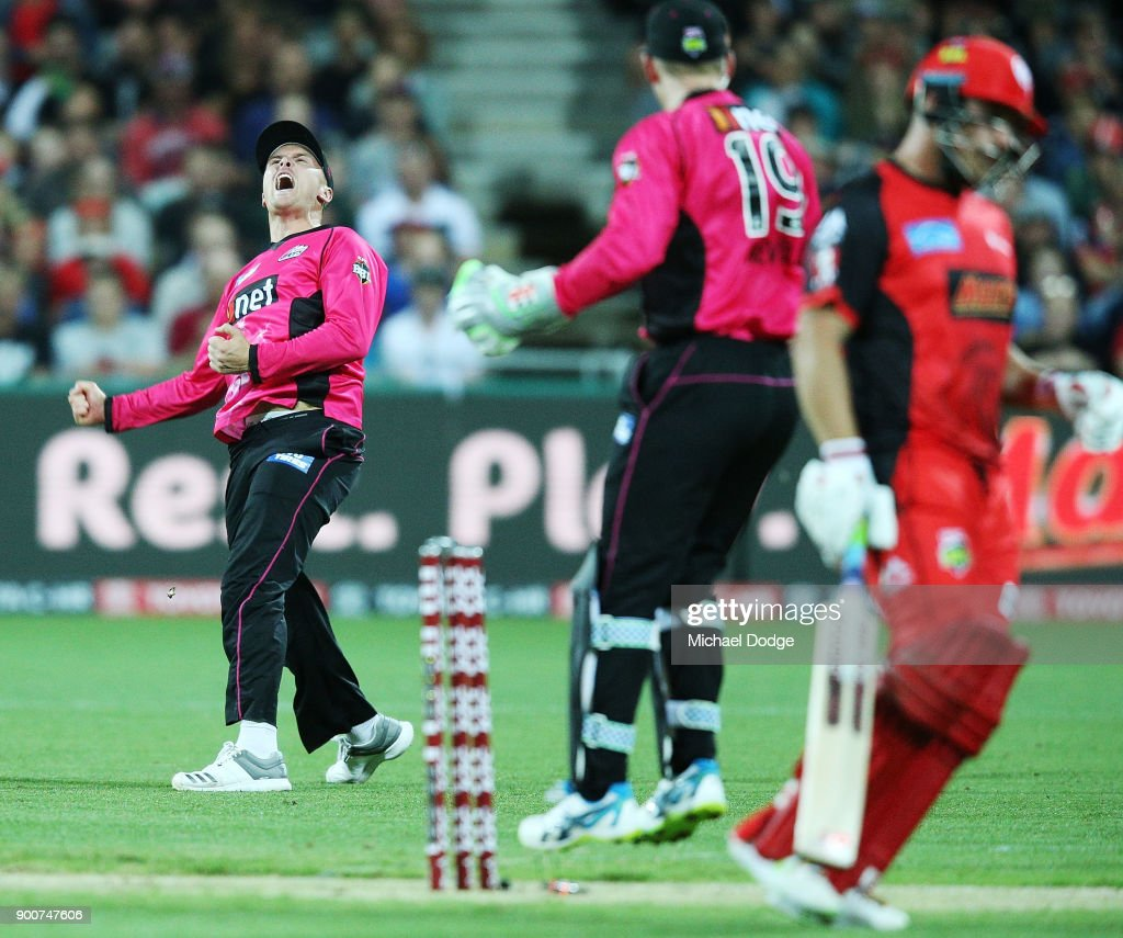 Jason Roy of the Sixers runs out Aaron Finch of the Renegades during the Big Bash League match between the Melbourne Renegades and the Sydney Sixers on January 3, 2018 in Geelong, Australia.