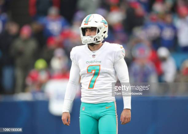 Jason Sanders of the Miami Dolphins gets ready during NFL game action against the Buffalo Bills at New Era Field on December 30 2018 in Buffalo New...