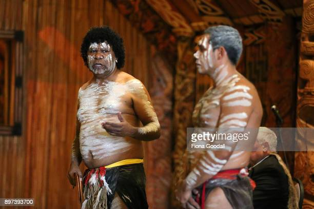 Jason Sandy and Jarred Fogarty of the Yugambeh clan perform at Auckland War Memorial Museum during the Commonwealth Games Queens Baton Relay Visit to...