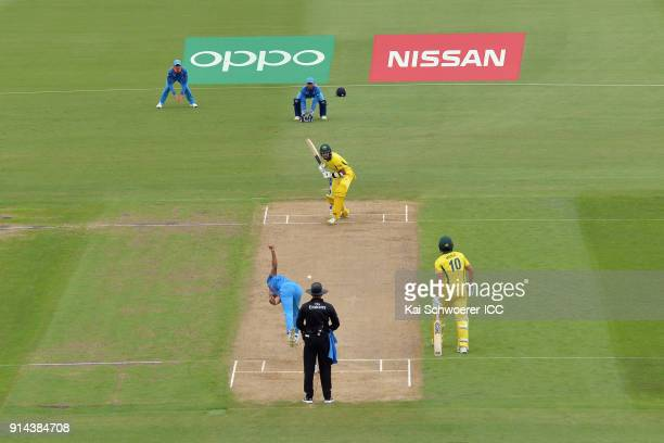 Jason Sangha of Australia looks to bat during the ICC U19 Cricket World Cup Final match between Australia and India at Bay Oval on February 3 2018 in...