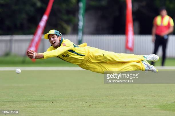 Jason Sangha of Australia misses a catch during the ICC U19 Cricket World Cup match between Zimbabwe and Australia at Lincoln Oval on January 17 2018...