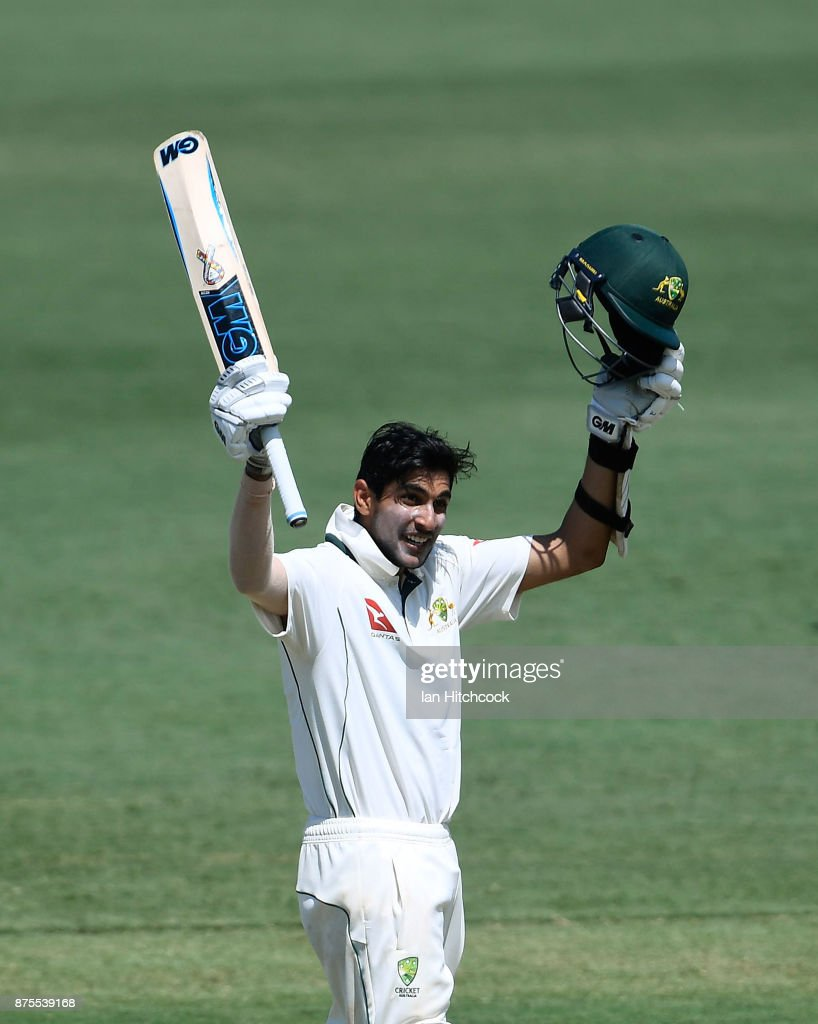 Jason Sangha of CA XI celebrates after reaching a century on day 4 of the four day tour match between Cricket Australia XI and England at Tony Ireland Stadium on November 18, 2017 in Townsville, Australia. (Photo by Ian Hitchcock/Getty Images) Images)