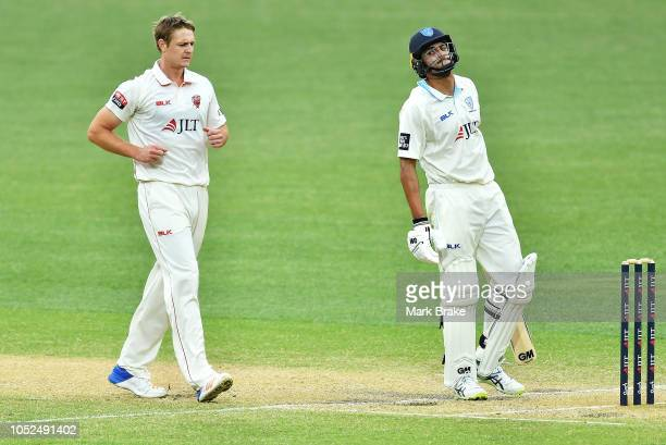 Jason Sangha of the Blues after getting out caught behind off Joe Mennie of the Redbacks during the Sheffield Shield match between South Australia...