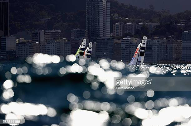 Jason Saunders and Gemma Jones of New Zealand in action during a Nacra 17 Mixed class race on Day 8 of the Rio 2016 Olympic Games at the Marina da...