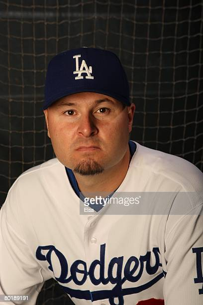 Jason Schmidt of the Los Angeles Dodgers poses during Photo Day on February 24, 2008 at Holman Stadium in Vero Beach, Florida.