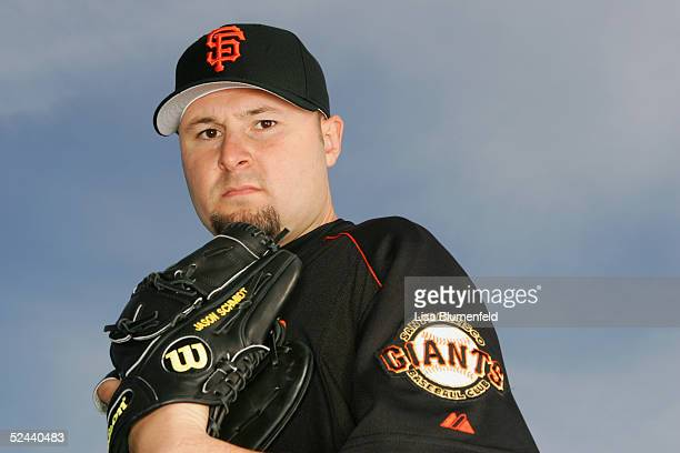 Jason Schmidt of the San Francisco Giants poses for a portrait during the San Francisco Giants Photo Day at Scottsdale Stadium on March 2, 2005 in...