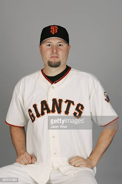 Jason Schmidt of the San Francisco Giants poses for a portrait during photo day at Scottsdale Stadium on March 2, 2005 in Scottsdale, Arizona.