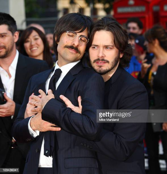 Jason Schwartzman and Edgar Wright attend the European premiere of 'Scott Pilgrim vs The World' at Empire Leicester Square on August 18 2010 in...