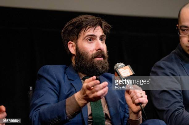 Jason Schwartzman discusses 'Isle Of Dogs' during the New York Screening QA at The Film Society of Lincoln Center Walter Reade Theatre on March 22...