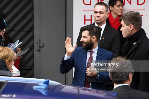 Jason Schwartzman leaves after the 'Isle of Dogs' press conference during the 68th Berlinale International Film Festival Berlin at Grand Hyatt Hotel...